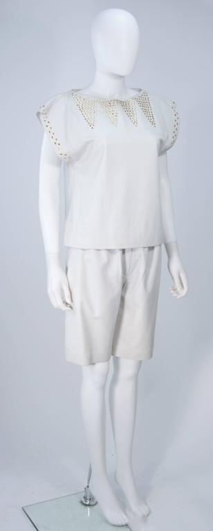 Women's TED LAPIDUS Two Piece Off White Leather Short Set with Gold Studs Size 4 For Sale
