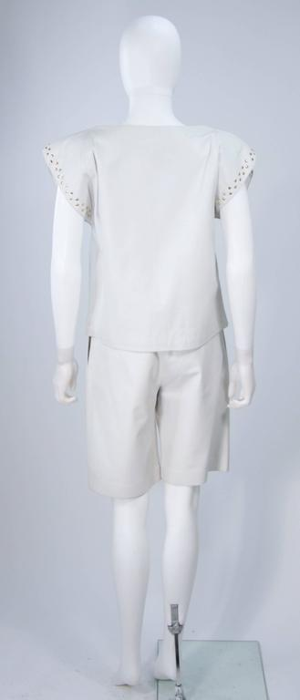 TED LAPIDUS Two Piece Off White Leather Short Set with Gold Studs Size 4 For Sale 2