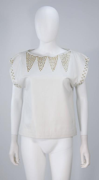 TED LAPIDUS Two Piece Off White Leather Short Set with Gold Studs Size 4 For Sale 3