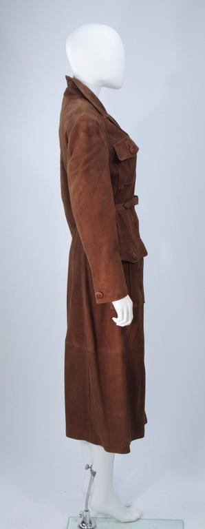 special promotion latest sale 2020 GIANNI VERSACE Brown Suede Trench Coat with Belt Size 6