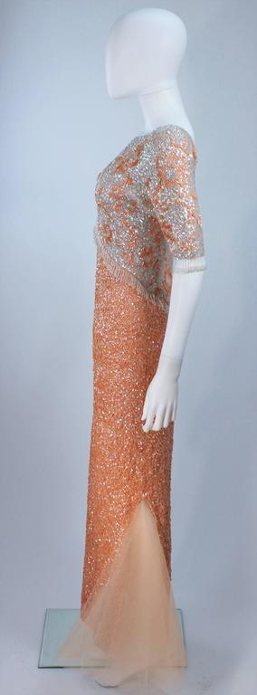 Vintage 1950's Iridescent Peach Stretch Wool Knit Gown Size 4-8 7