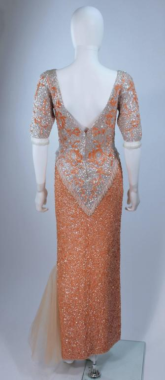 Vintage 1950's Iridescent Peach Stretch Wool Knit Gown Size 4-8 9