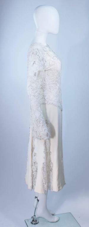 FE ZANDI White Lace Silk Embellished Dress Size 6 For Sale 1