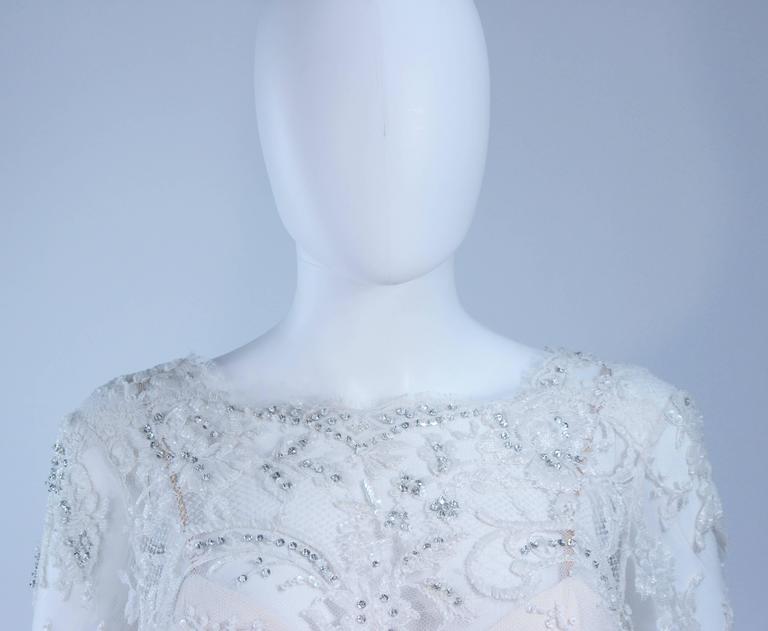 Women's FE ZANDI White Lace Silk Embellished Dress Size 6 For Sale