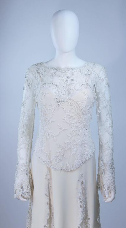 FE ZANDI White Lace Silk Embellished Dress Size 6 In Excellent Condition For Sale In Los Angeles, CA