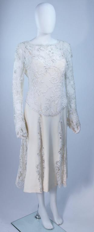 Gray FE ZANDI White Lace Silk Embellished Dress Size 6 For Sale