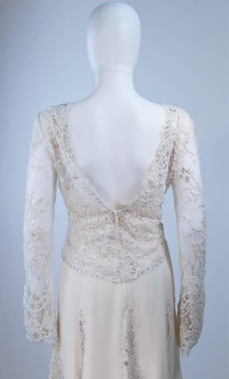 FE ZANDI White Lace Silk Embellished Dress Size 6 For Sale 4