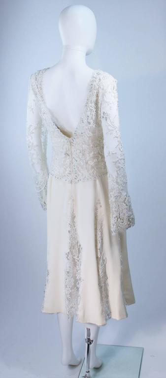 FE ZANDI White Lace Silk Embellished Dress Size 6 For Sale 2
