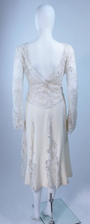 FE ZANDI White Lace Silk Embellished Dress Size 6 For Sale 3