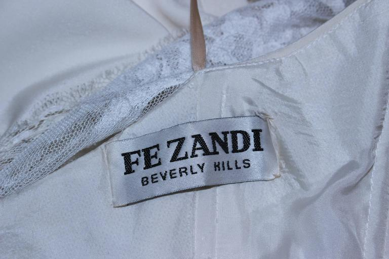 FE ZANDI White Lace Silk Embellished Dress Size 6 For Sale 5