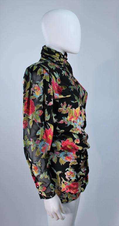 UNGARO Silk and Velvet Floral Motif Wrap Style Draped Blouse Size 8 4