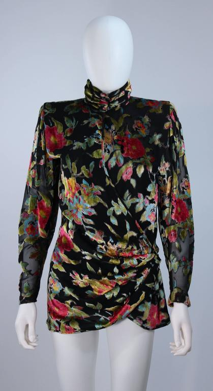 UNGARO Silk and Velvet Floral Motif Wrap Style Draped Blouse Size 8 2