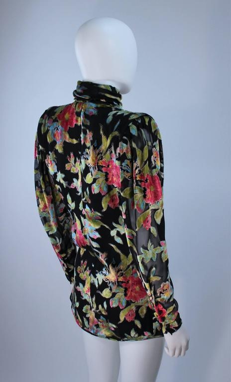 UNGARO Silk and Velvet Floral Motif Wrap Style Draped Blouse Size 8 5