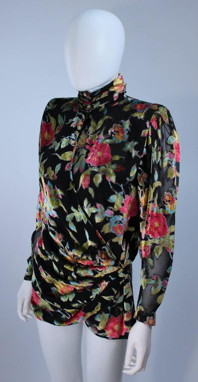 UNGARO Silk and Velvet Floral Motif Wrap Style Draped Blouse Size 8 3