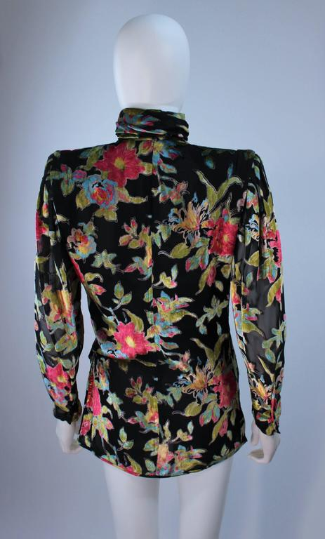 UNGARO Silk and Velvet Floral Motif Wrap Style Draped Blouse Size 8 6