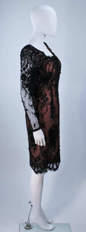 FE ZANDI Black Lace Embellished Cocktail Dress Size 8 For Sale 2