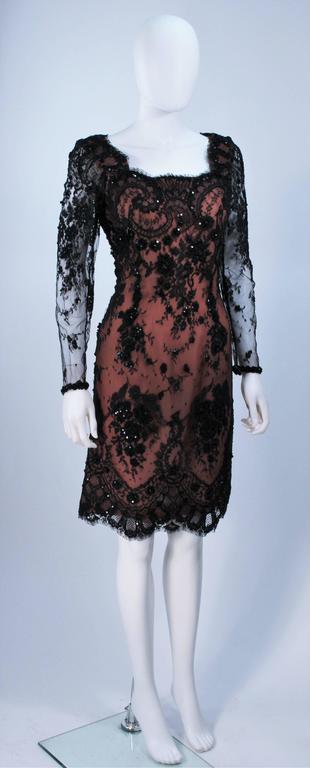 Women's FE ZANDI Black Lace Embellished Cocktail Dress Size 8 For Sale