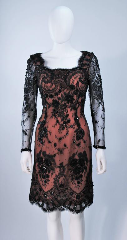 FE ZANDI Black Lace Embellished Cocktail Dress Size 8 In Excellent Condition For Sale In Los Angeles, CA