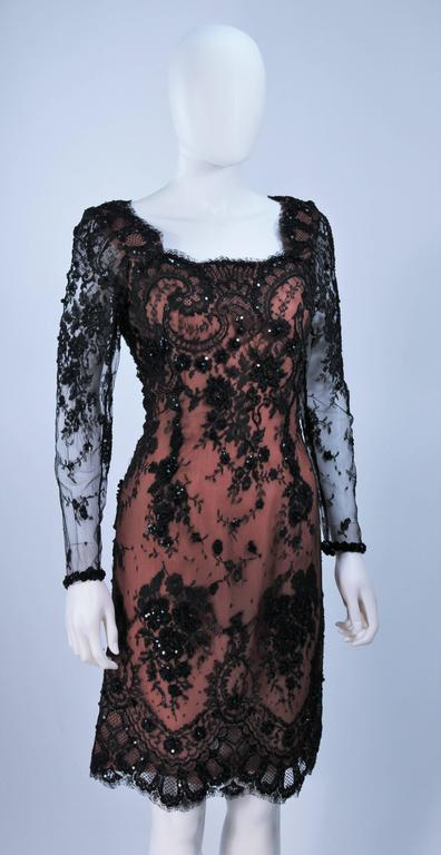 FE ZANDI Black Lace Embellished Cocktail Dress Size 8 For Sale 1
