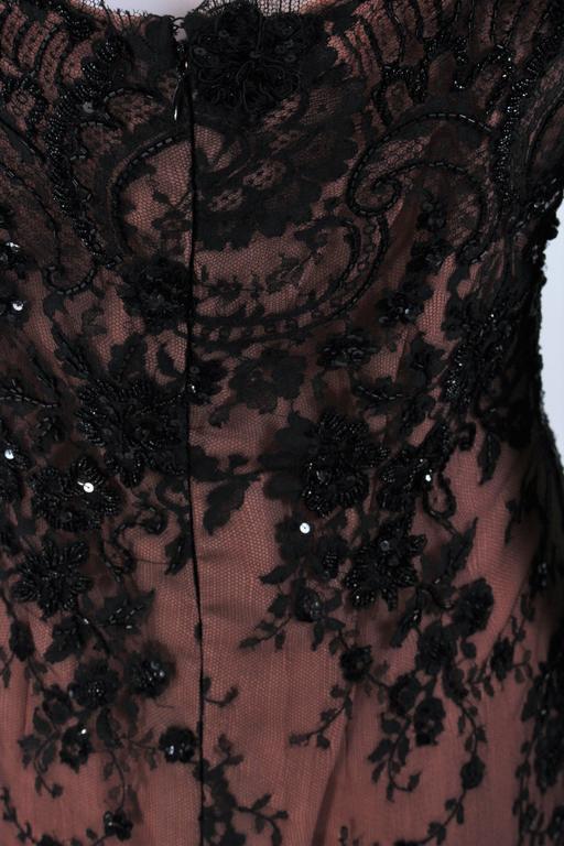 FE ZANDI Black Lace Embellished Cocktail Dress Size 8 For Sale 5