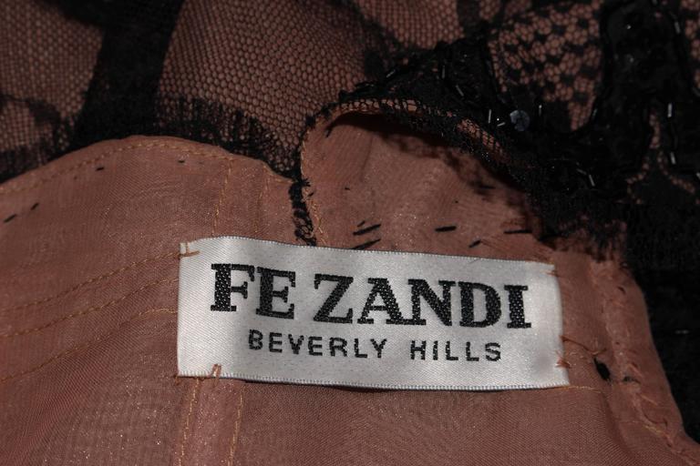 FE ZANDI Black Lace Embellished Cocktail Dress Size 8 For Sale 6
