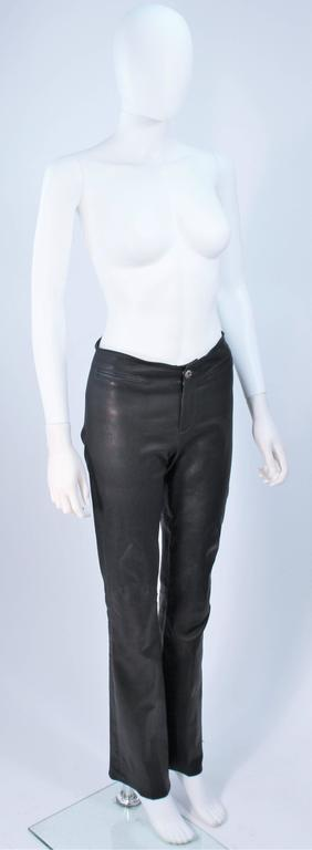 CHROME HEARTS Black Stretch Leather Boot Cut Pants Size 4 4
