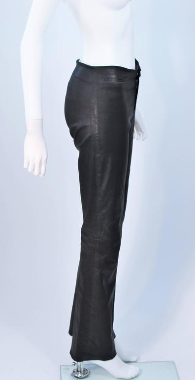 CHROME HEARTS Black Stretch Leather Boot Cut Pants Size 4 7