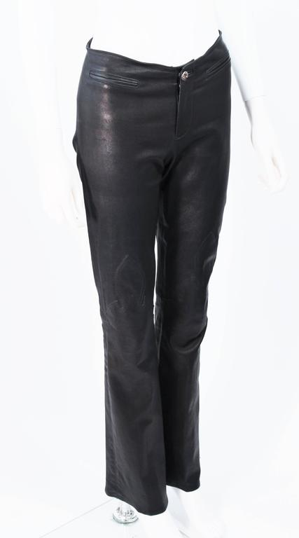 CHROME HEARTS Black Stretch Leather Boot Cut Pants Size 4 5