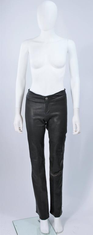 CHROME HEARTS Black Stretch Leather Boot Cut Pants Size 4 2