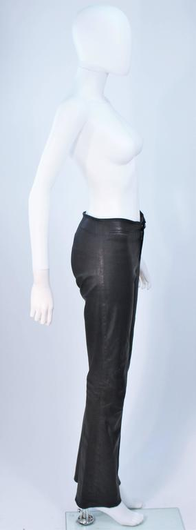CHROME HEARTS Black Stretch Leather Boot Cut Pants Size 4 6