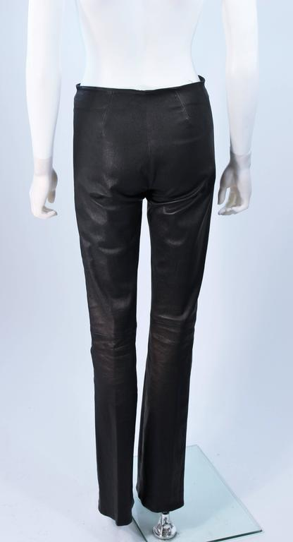 CHROME HEARTS Black Stretch Leather Boot Cut Pants Size 4 8