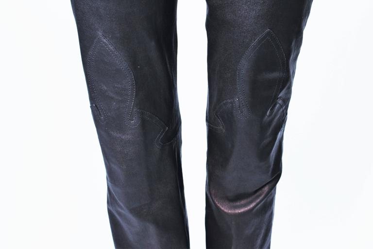 CHROME HEARTS Black Stretch Leather Boot Cut Pants Size 4 3