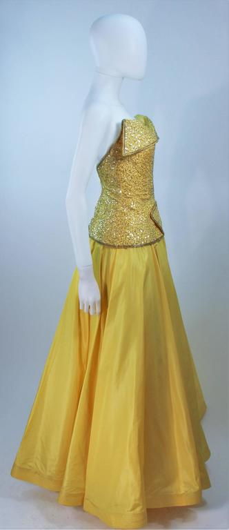 MURRAY ARBEID Yellow Embellished Full Length Strapless Gown Size 2-4 6