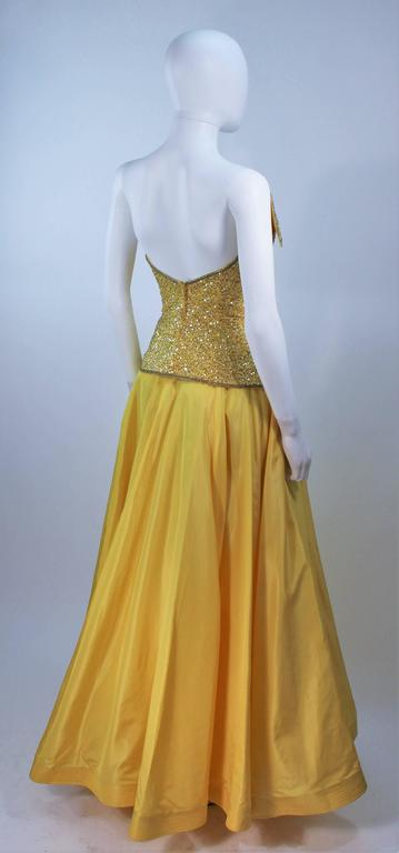 MURRAY ARBEID Yellow Embellished Full Length Strapless Gown Size 2-4 7