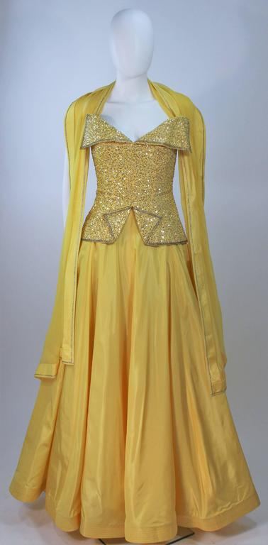 MURRAY ARBEID Yellow Embellished Full Length Strapless Gown Size 2-4 4