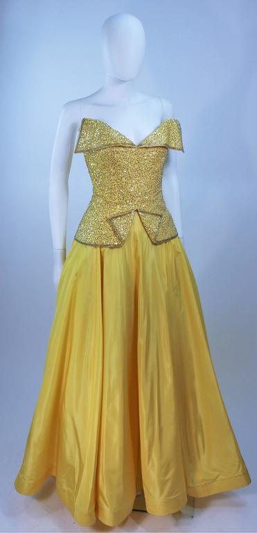 MURRAY ARBEID Yellow Embellished Full Length Strapless Gown Size 2-4 2