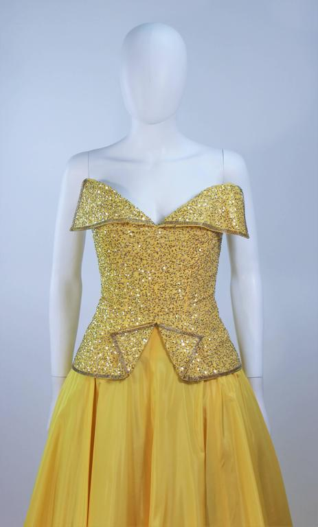 MURRAY ARBEID Yellow Embellished Full Length Strapless Gown Size 2-4 5