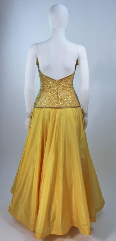 MURRAY ARBEID Yellow Embellished Full Length Strapless Gown Size 2-4 8