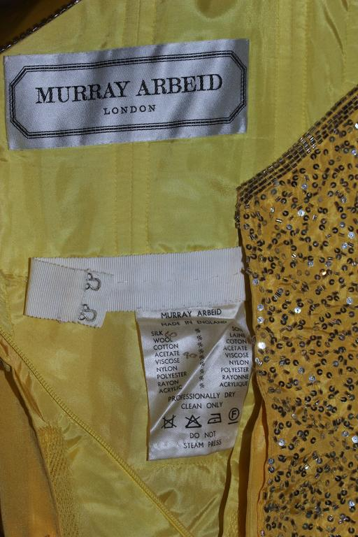 MURRAY ARBEID Yellow Embellished Full Length Strapless Gown Size 2-4 9