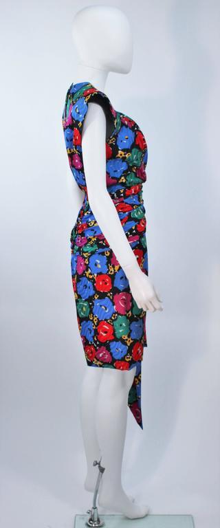 ANDREA ODICINI Floral Primary Color Print Cocktail Dress Structured Shoulder 10 For Sale 1