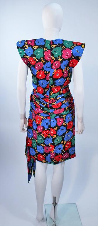 ANDREA ODICINI Floral Primary Color Print Cocktail Dress Structured Shoulder 10 For Sale 3