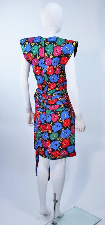 ANDREA ODICINI Floral Primary Color Print Cocktail Dress Structured Shoulder 10 For Sale 2