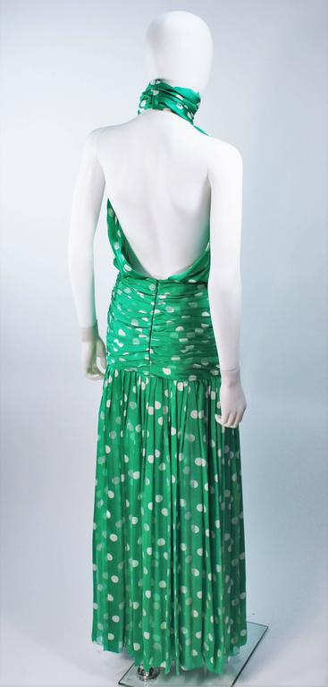 JIKI MONTE CARLO Silk Green and White Polka Dot Gown Size 2 For Sale 3