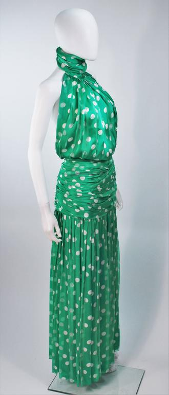 JIKI MONTE CARLO Silk Green and White Polka Dot Gown Size 2 For Sale 2