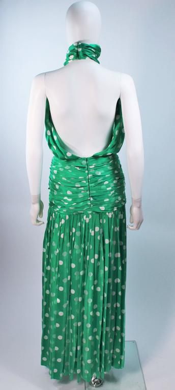 JIKI MONTE CARLO Silk Green and White Polka Dot Gown Size 2 For Sale 4