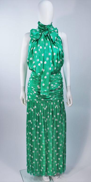 Blue JIKI MONTE CARLO Silk Green and White Polka Dot Gown Size 2 For Sale
