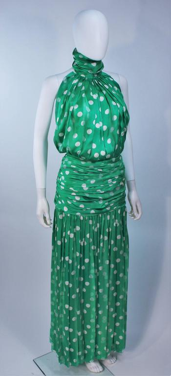 JIKI MONTE CARLO Silk Green and White Polka Dot Gown Size 2 For Sale 1
