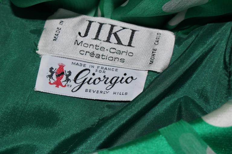 JIKI MONTE CARLO Silk Green and White Polka Dot Gown Size 2 For Sale 5
