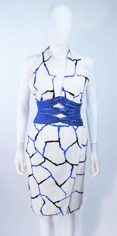 JACQUELINE DE RIBES Halter Dress with Cobalt Snakeskin Waist and Bolero Size 4-6 3