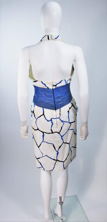 JACQUELINE DE RIBES Halter Dress with Cobalt Snakeskin Waist and Bolero Size 4-6 8